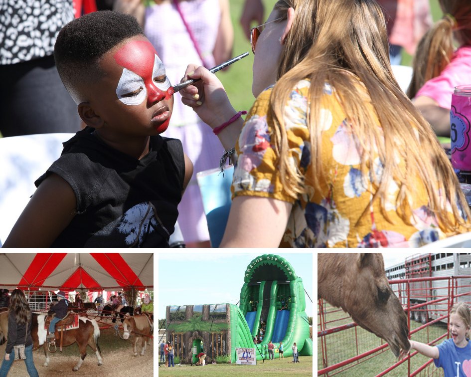 Face Painting, Pony Rides, Bouncy House and Child Petting Camel